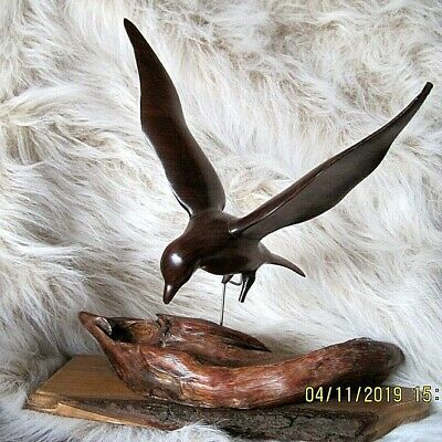 Hand Carved (B.Wilbur Dec 76) Landing Seagull Natural Wood Base Apx 14 H X 14 W