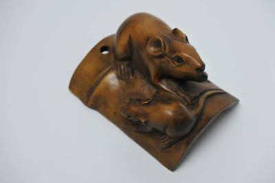 Rare Wooden Rat Mouse on Bamboo Netsuke sign Japanese antique vintage ojime inro
