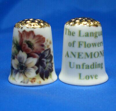 Flowers Free Dome Box Birchcroft China Thimble Red Poppies