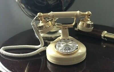 Vintage Ivory & Gold Victorian Princess Rotary Phone Western Electric In EUC