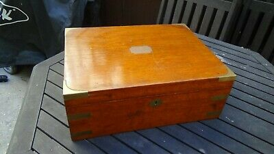 Antique Victorian / Edwardian Brass Bound Large Wooden Box