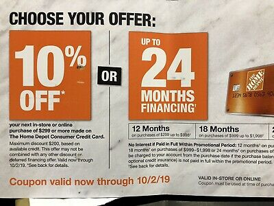 Home Depot 10% OFF Coupon Offer ONLINE/ IN STORE With HD Credit Card Exp 10/2/19