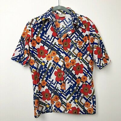 Vintage Womens 60s 70s Disco Shirt Floral Flower Power Butterfly Collar Size 16