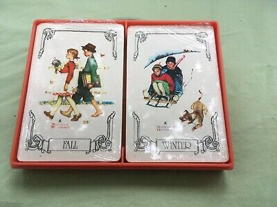 Hallmark Norman Rockwell Playing Cards Fall And Winter Sealed Decks