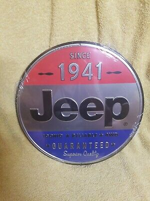"""Size JEEP 1941 ROUND EMBOSSED TIN SIGN 12/"""" W X 12/"""" H X 0.125/"""" D"""
