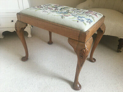 Antique Stool Walnut with Tapestry Embroidered Seat