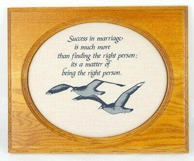 Framed Success in Marriage quote wood framed newlywed birds art stitched wedding