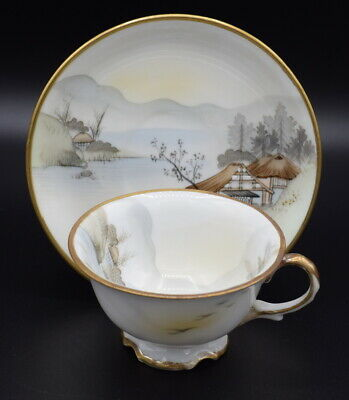 Antique Noritake Japanese Cup And Saucer Hand Painted Village Lake Scenery A