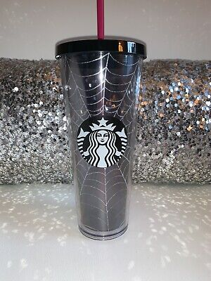 Starbucks Spiderweb Glitter Tumbler Cup Limited Edition Halloween Fall 2019 NEW