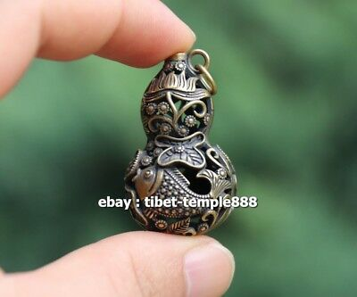 4 CM Chinese Pure Bronze Handwork Hollow Out Lotus Fish Gourd Amulet Pendant