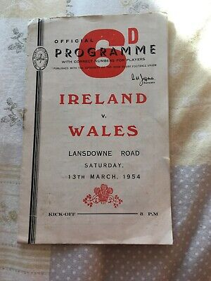 Ireland v Wales 13 March 1954 Dublin RUGBY PROGRAMME