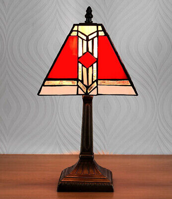 Tiffany Style Antique Brass Effect Vintage Red White Stained Glass Table Lamp