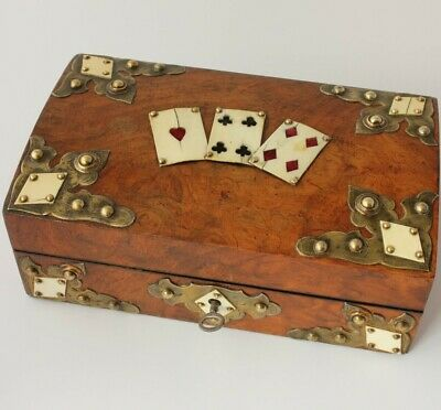 Antique Victorian Burr Walnut Playing Card Bridge Games Box. Brass & Bone c1860