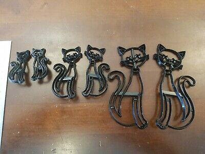 Set Of Six Patchwork Smiling Cat / Siamese Cat Cutters, Three Pairs