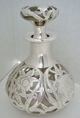 Lovely Antique Clear Glass Perfume Scent Bottle w Sterling Silver Overlay