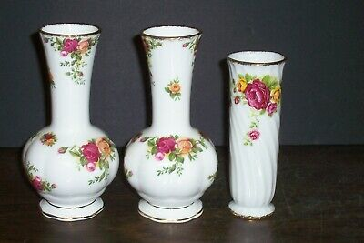 "Lot Of 2 Royal Albert Old Country Roses Bud Vases 6"" Never Used Made England"