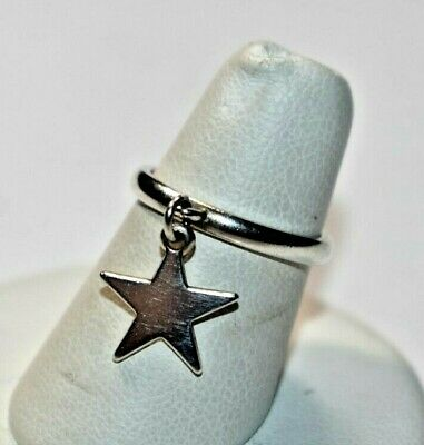 Stunning JAMES AVERY Sterling Silver Dangle STAR Charm Ring Sz- 5.25