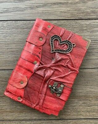 Belt Strap Leather Journal Handmade Notebook Diary Heart Design Red Large