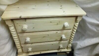 solid pine white washed barley twist chest of drawers