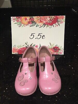 Startrite Butterfly Pearlescent Pale Pink Patent leather Shoes, infant Size 5.5e