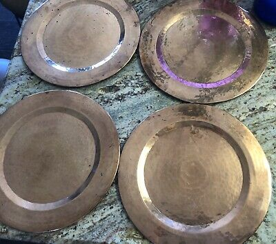 Arts & Crafts Hand Hammered Solid Copper Large Charger Plates Antique Set Of 4