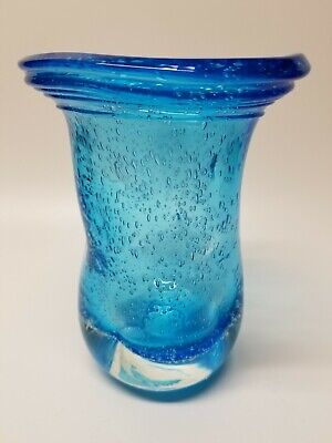 Vintage Hand Blown Ice Blue Dimpled/Pinched Art Glass Vase W/Controlled Bubbles