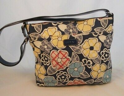 RELIC Blue Tone Floral Canvas Fabric Crossbody Shoulder Messenger Pouch Bag VGUC