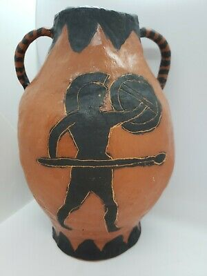 Ancient Greek inspired studio clay pottery urn vase with black painted designs