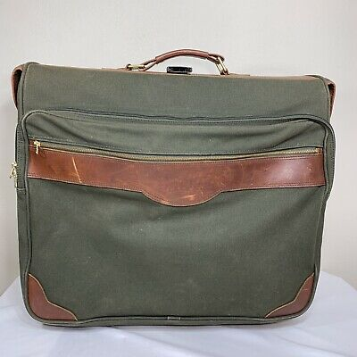 ORVIS Luggage Battenkill Canvas Leather Rolling Travel Suitcase Green Brown Bag