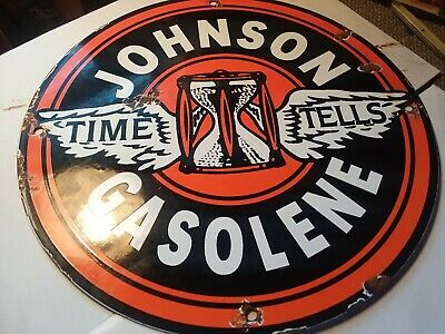 HoJOHNSON GASOLINE PORCELAIN ENAMEL GAS PUMP SERVICE STATION SIGN