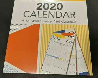 """Large Print 2020 Wall Calendar 16 Months 12"""" X 12""""  by Double Time"""