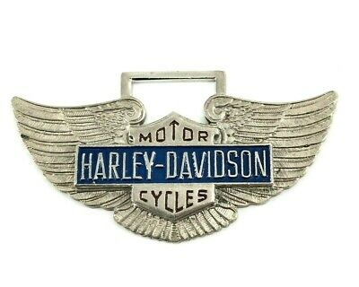 Vtg Harley-Davidson Watch Fob Pin Leather Strap Advertising D&A Cycle Shop RARE