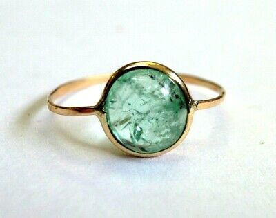 1.4CT Natural Emerald Cabochon 14K Yellow Gold Ring Size 6.5