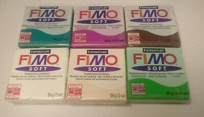 Fimo Soft Polymer Modelling Clay Lot of 6 Colors Oven Bake Genuine Staedtler