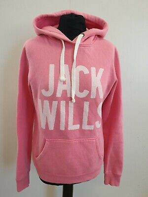 L238 Womens Jack Wills Pink White Emblem Pullover Tracksuit Hoodie Uk 10 Us 6
