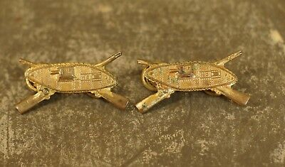 1920's US Army Officers Armored Infantry Collar Insignia (Complete, Pair)