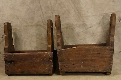 2 Antique 18th Century to 19th Century Farrier's Tool Tote Box Wrought Iron Wood