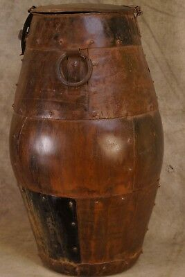 Antique 18th to 19th Century Wrought Iron Grain Barrel Storage Container
