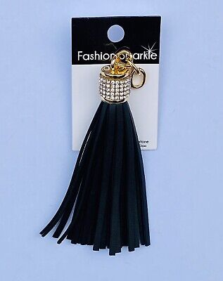 7cm Decorative Tassel Black Faux Leather With Rhinestones Keychain Phone Handbag