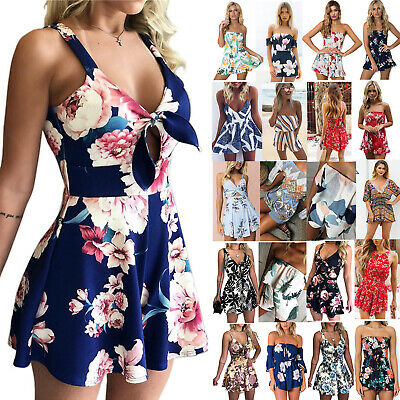 Boho Womens Floral Mini Playsuit Summer Jumpsuit Beach Shorts Dress Holiday New