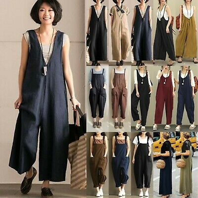 Womens Cotton Linen Wide Leg Jumpsuit Playsuit Baggy Loose Pants Overall Trouser