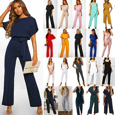 Plus Size Womens Jumpsuit Wide Leg Playsuit Office Long Trouser Party Clubwear