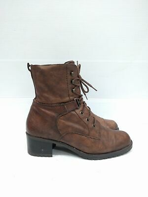 Sz 38 Vintage Ladies Brown Military Grunge Rock lace up leather ankle boots