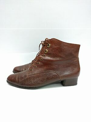 Sz 9 Vintage Ladies GABOR Brown animal textured leather lace up ankle boots