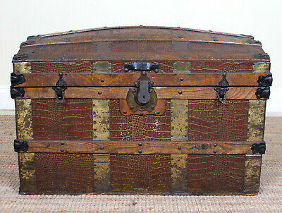 Large Antique Victorian Trunk Brass Bound Leather Wood Cabin Storage Box
