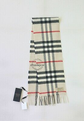 Authentic BNWT BURBERRY Giant Check Children's Boy/Girl Cashmere Scarf IN Stone