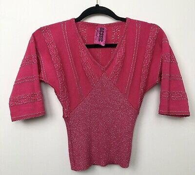 Vintage 70s Disco Pink Shirred Top Metallic Stretch Fitted Cropped Size 8