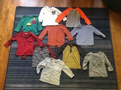 Huge Lot Of 10 Cat and Jack Long Sleeve Shirts Baby Toddler Boy 18m EUC