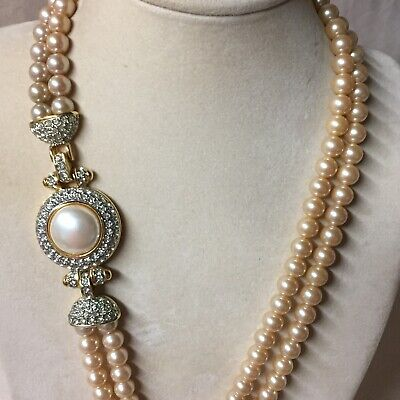 Vintage Faux Pearl Double Strand Necklace With Fancy Clasp 37""