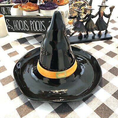 Halloween Large Black Witch Hat Ceramic Chips And Dip Party Serving Tray